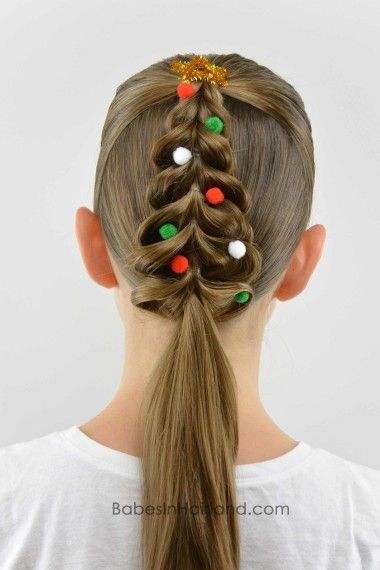 Christmas Tree Pull Through Braid from BabesInHairland.com #christmashair #hair #christmastree #christmas #hairstyle #braid
