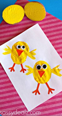 Chick Potato Stamping Craft for Kids - Sassy Dealz
