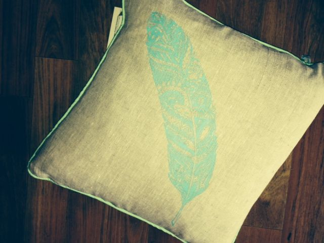 Hand Screen printed feather on 100% Linen www.etsy.com/shop/VintageCoastInt