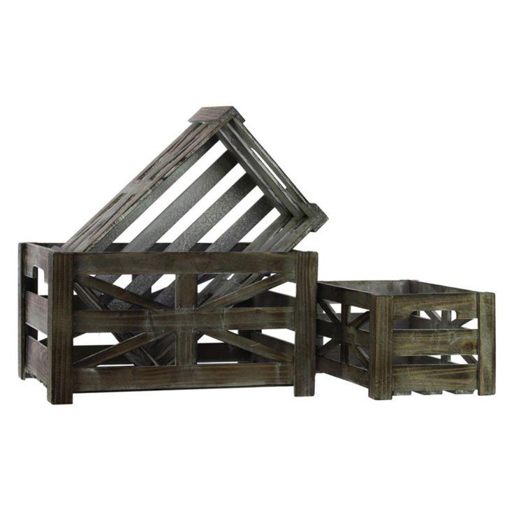 Urban Trends Wooden Storage Box Set of Three Tinted Wood Finish Brown - 25503