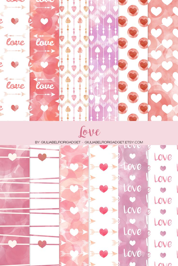 Love digital papers, perfect for creating valentine's day cards or wedding decorations and invitations! #digitalpapers #love #wedding