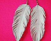 Dove - Faux Leather Feather Earrings