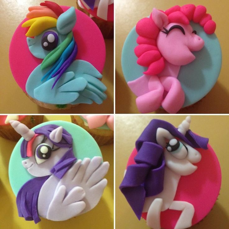 My Little Pony Cupcake Toppers in Fondant by Lakrymosa Cakery