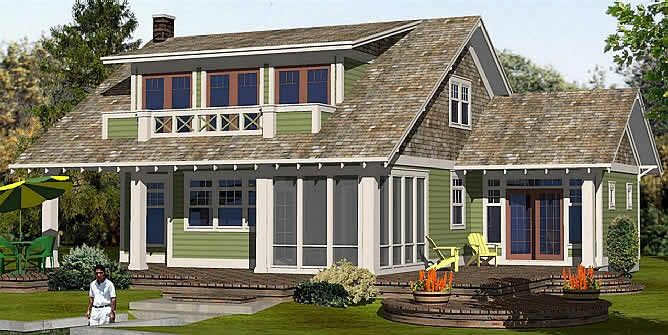 Craftsman g 1828 master bedroom and loft spaces for House plans with shed dormers