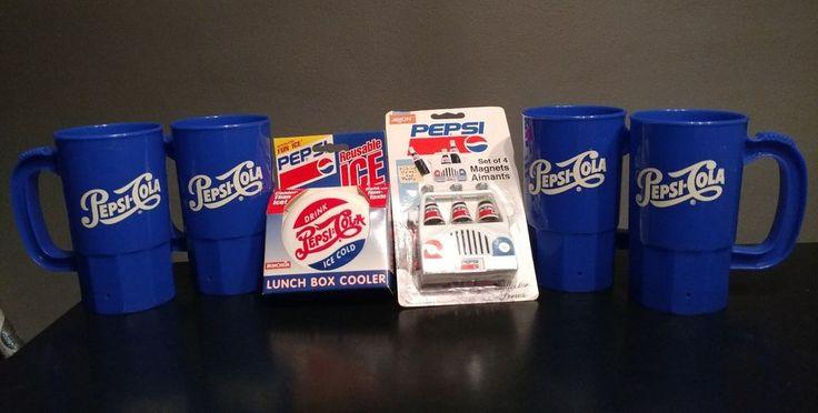 Vintage Lot Pepsi: 4 Plastic Mugs, Magnet and Lunchbox Cooler.  | eBay