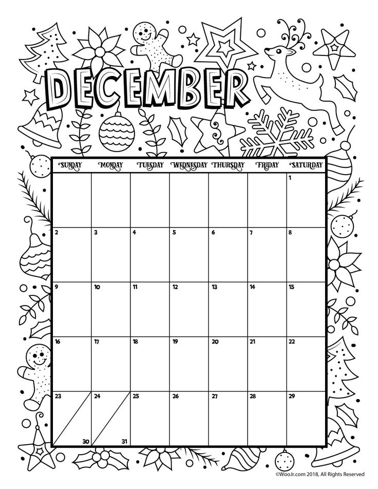 December 2018 Coloring Calendar Page | Products I Love ...