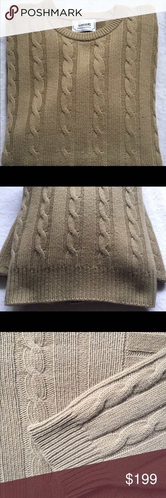 Johnston's of Elgin for Harrods Men's Cashmere Johnston of Elgin for Harrods 3-ply cashmere men's cable knit XL crewneck sweater. Purchased at Harrods in London this is one of the most luxurious & comfortable sweaters I have ever known. Ribbed cuffs, neck & waist. Amazing condition & beautiful dark Khaki color. Wear this on the coldest day or wrap your lover in it & just watch the look of pure joy on their face. If I could have this cut down I would!!! Johnston of Elgin Cashmere Sweaters…