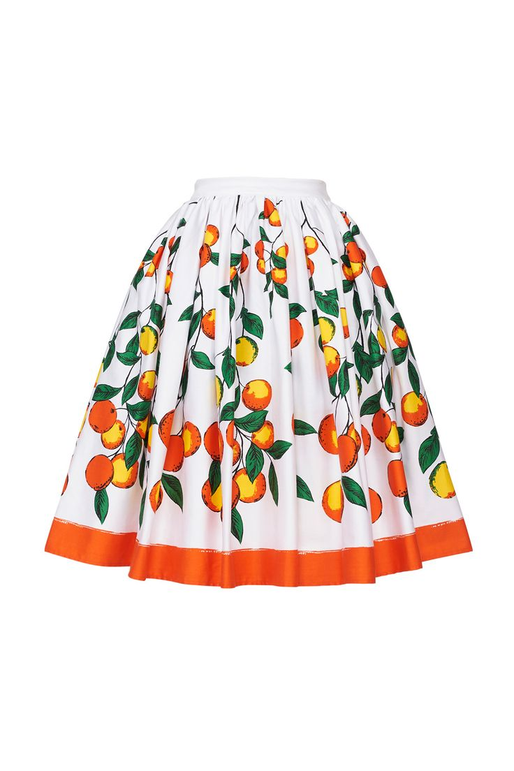 Vintage Gathered Petite Skirt in Orange Print