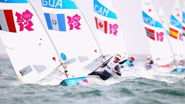 The men's Laser Sailing on Day 4 of the London 2012 Olympic Games at Weymouth & Portland.