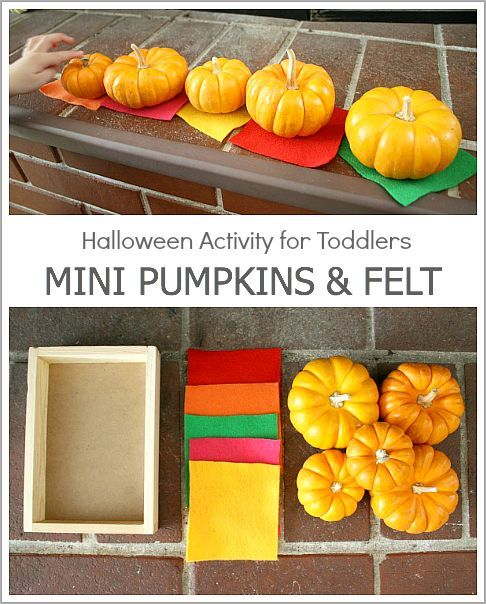 Fall Invitation to Play:  Halloween Activity for Toddlers Using Mini Pumpkins and Felt~ BuggyandBuddy.com
