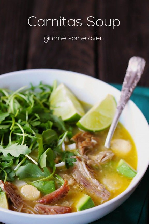 Carnitas Caldo (Carnitas Soup) -- Inspired by Rick Bayless' version at XOCO in Chicago, this soup is outstanding! | gimmesomeoven.com