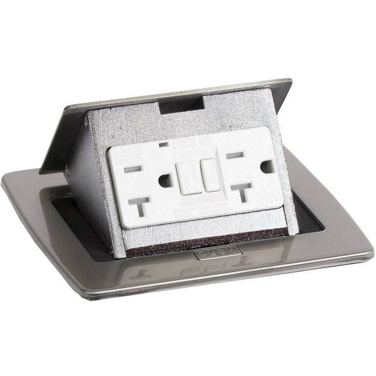 kitchen countertop pop up 20a gfci power outlet, stainless