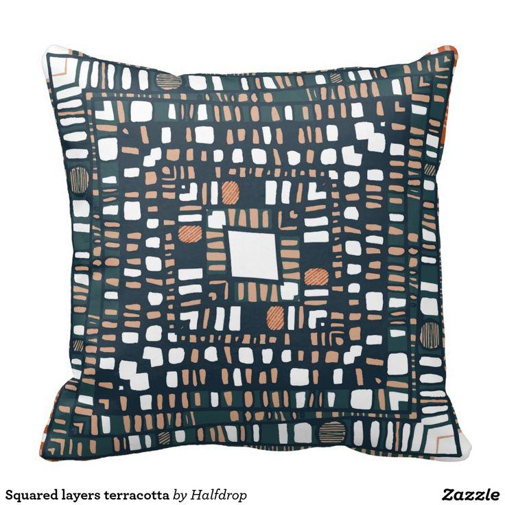 Squared layers terracotta throw cushion
