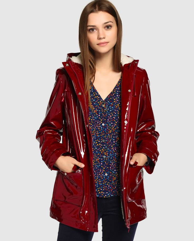 Shiny dark red raincoat with fleecey lining