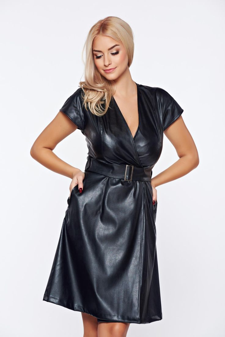 """PrettyGirl black clubbing wrap around dress from ecological leather accessorized with belt, accessorized with belt, """"V"""" cleavage, short sleeves, ecological leather, wrap around"""