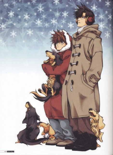 Saiyuki - Goku and Hakkai with dogs. I am okay with this.