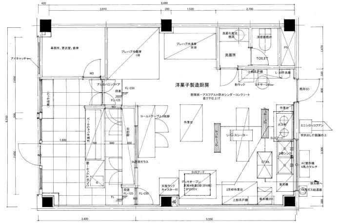 カフェベーカリー厨房設計レイアウト図面 飲食店の設計と内装工事 厨房 設計 レイアウト パン屋のインテリア