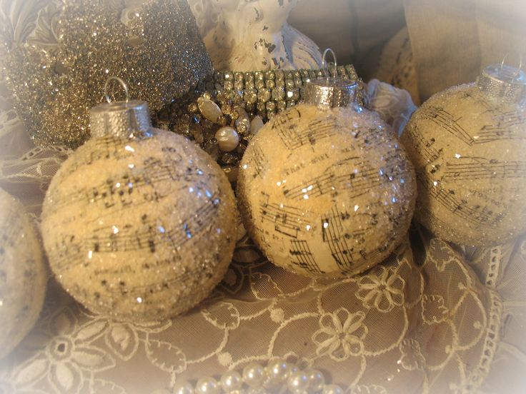 Old Vintage Sheet Music Glitter Ornaments by whitewashboutique