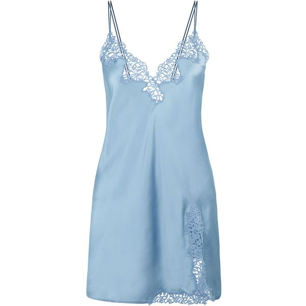 La Perla Petit Macrame Slip (£660) ❤ liked on Polyvore featuring intimates, dresses, pajamas, sleepwear, light blue and blue slip