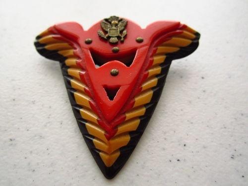 WWII Bakelite Victory Wings Brooch