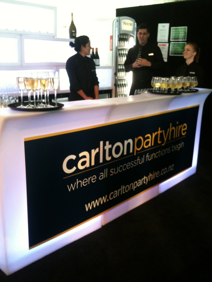 Taste of Carlton tent at the Taste of Auckland event. The LED light bar - servers waiting to serve our guests.
