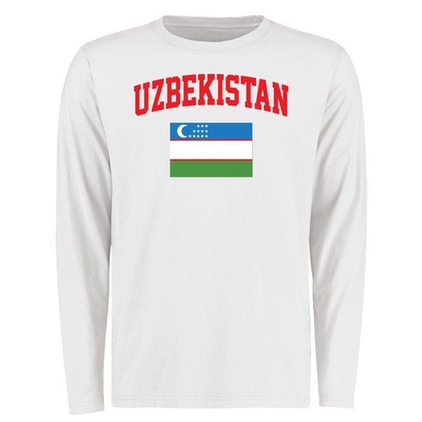 Uzbekistan Flag Long Sleeve T-Shirt - White - $27.99