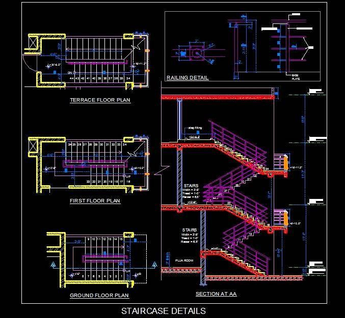 Best Double Storey Staircase Design Detail Showing Plan 400 x 300