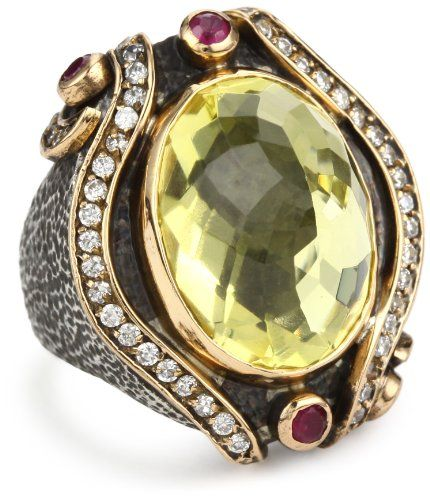 BORA Hand crafted Oxidized Sterling Silver, Lemon Quartz, and Ruby Ring, Size 7 $210.00 (save $140.00) + Free Shipping