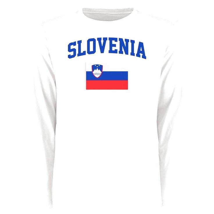 Slovenia Flag Long Sleeve T-Shirt - White - $27.99