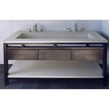 Double Vanity Trough Sink Undermount Freestanding Contemporary Concrete Double Trough Sink