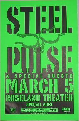 Steel Pulse 3/5/98 Roseland  Reggae Concert Poster