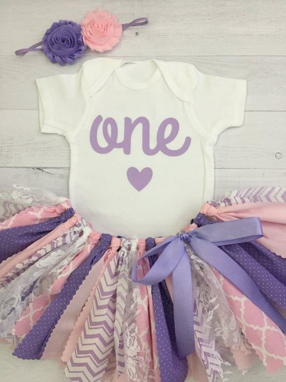 Pink and Purple/Lavender Birthday Outfit with Headband/Fabric Tutu/Baby Girl