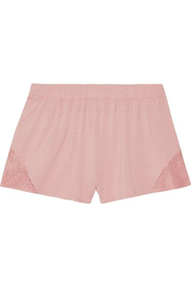 Skin - Lace-trimmed Stretch-jersey Pajama Shorts - Antique rose - 1
