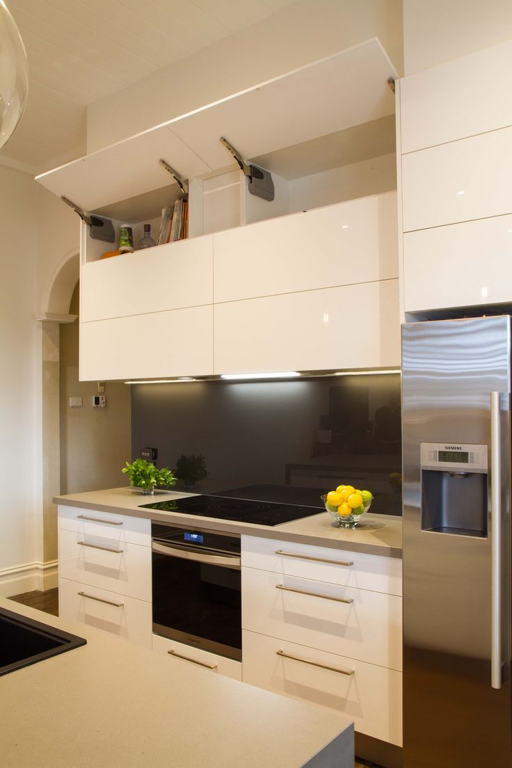 Modern Galley Style Kitchen Lift Up Overhead Cupboards By