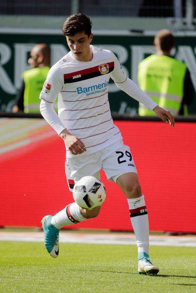 Kai Havertz of Leverkusen in action during the Bundesliga match between FC Ingolstadt 04 and Bayer 04 Leverkusen at Audi Sportpark on May 6, 2017 in Ingolstadt, Germany.