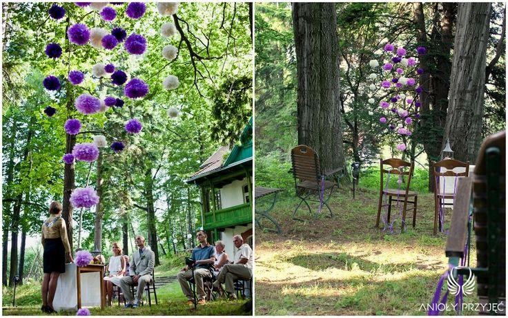 24. Forest Wedding,Outdoor ceremony decor / Leśne wesele,Ceremonia w plenerze,Anioły Przyjęć
