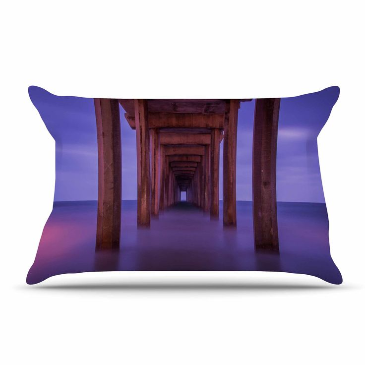 "Juan Paolo ""Scripps Pier"" Pink Purple Pillow Case"