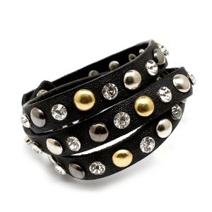 studded leather bracelet by Skelapparel | amazon