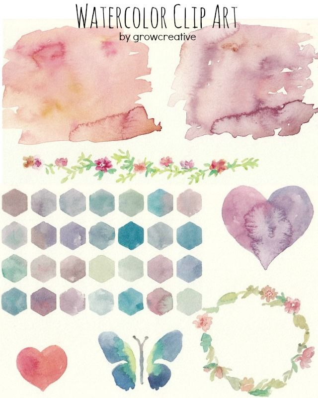 Free Watercolor Background and Floral Clip Art