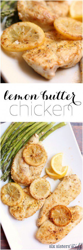Lemon Butter Chicken on Six Sisters' Stuff | This lemon butter chicken only takes 20 minutes to throw together from start to finish, is healthy, and delicious! A great addition to your meal rotation!