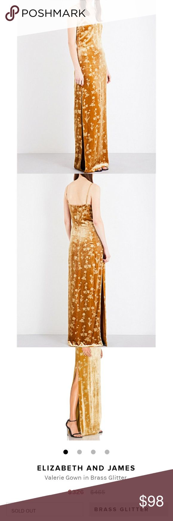NWT Elizabeth And James Valerie Maxi Gown Dress NWT Elizabeth And James Valerie Gown Maxi Dress in Brass Glitter. Fabric is velvety and has a slight glittery quality to it. Purchased at a discount retailer for a great deal and passing the savings on to you ♥️ Size 4 Elizabeth and James Dresses Maxi
