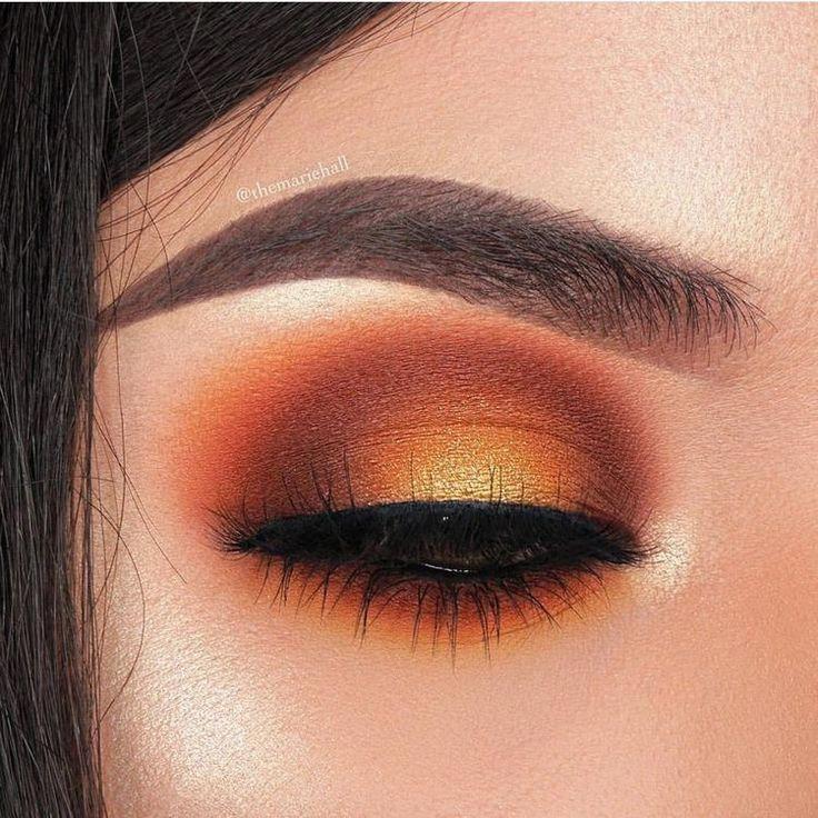 Warm Orange Eye Makeup Glam Fall Eyemakeuphowtodo Makeuptips Orange Eye Makeup Fall Eye Makeup Orange Makeup