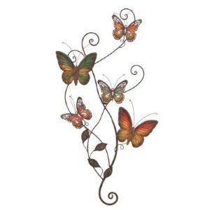"""Butterfly Hand Painted Metal Wall Art 29""""h, 15""""w $19.98"""