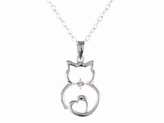"DiAura Sterling Silver Diamond-Accent Cat Pendant Necklace, 18"" on Amazon today ON SALE for $29.00 & eligible for FREE Super Saver Shipping find more items like this at http://www.ddsgiftshop.com/jewelry Be a fan on Facebook here https://www.facebook.com/pages/Amazon-Deals-Jewelry/456038321132815"