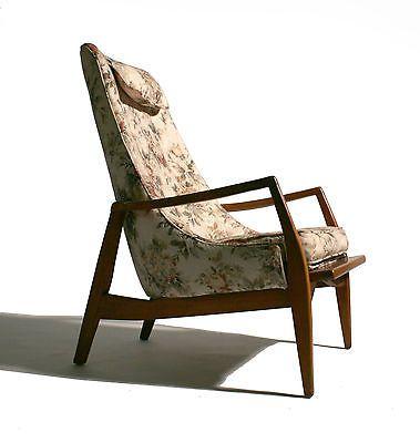 50s mid century danish modern tall back curved lounge chair kofod ...