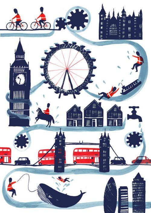 Landan drawing.: Charlottetrounc, London Travel, Posters Prints, Illustrations, Boys Rooms, London Style, Charlotte Trounc, London Call, Rivers
