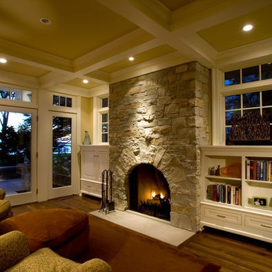Family Room Open Beam Ceiling Design, just about perfect if it is open to the kitchen.
