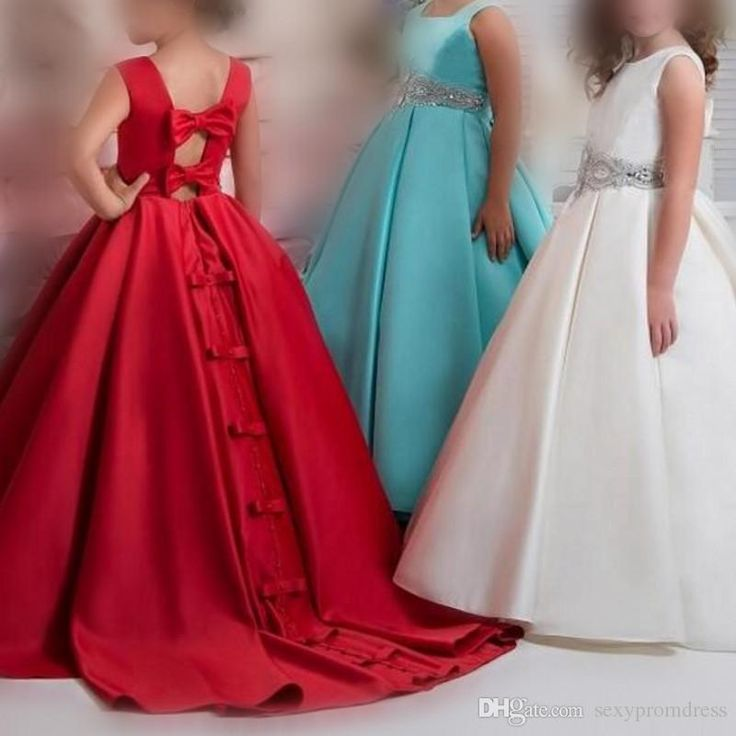 Cheap Arabic Flower Girl Dresses For Wedding 2018 Beaded Waist Satin A Line Girls Pageant Gowns Hollow Back With Bows Children Party Dress 2018 from sexypromdress, $43.22 | DHgate Mobile