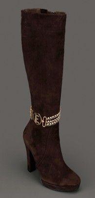 kahverengi bilekten taşlı zincirli bayan süet çizme modelleri