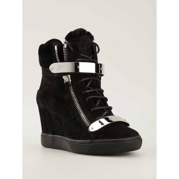 Giuseppe Zanotti Design concealed wedge hi-top sneakers ❤ liked on Polyvore featuring shoes, sneakers, giuseppe zanotti sneakers, high top trainers, hidden wedge shoes, high top hidden wedge sneakers and hidden wedge heel sneakers